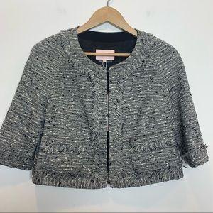 PORTS 1961 Tweed Cropped Short Jacket 3/4 Sleeve